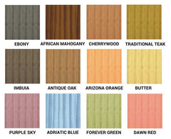 Gel Stain Colour Chart