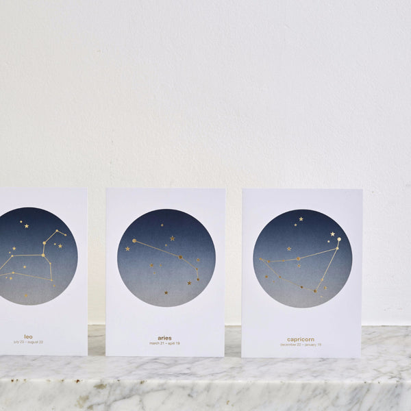 Zodiac Star Sign/Ombre Fade Constellation Cards (12 designs)