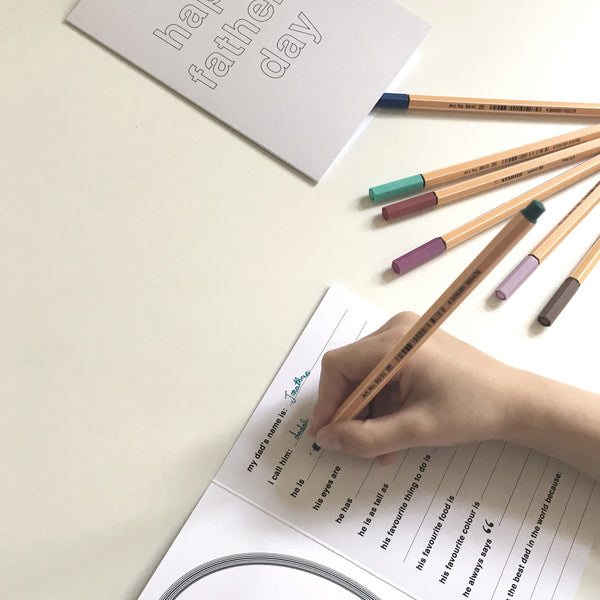 Questionnaire Card : Father's Day with pencils