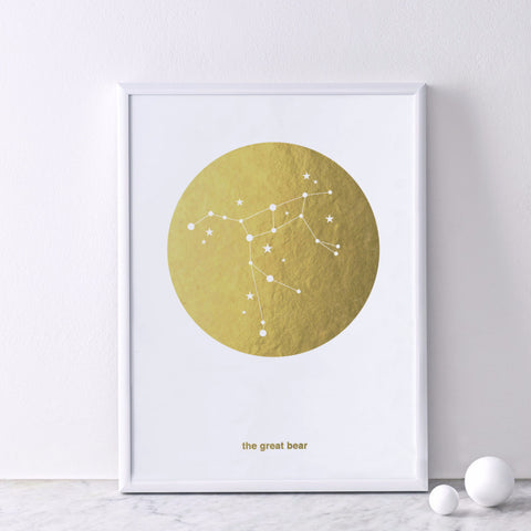 Gold Foil Print (on white) : Great Bear