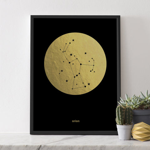 Gold Foil Print (on black) : Orion