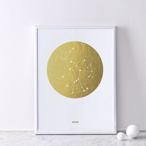 Gold Foil Print (on white) : Orion