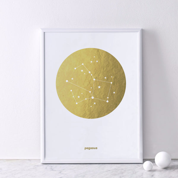 Gold Foil Print (on white) : Pegasus