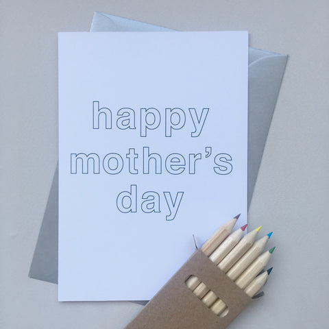 Questionnaire Card : Mother's Day with pencils