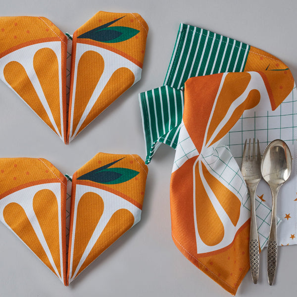 Origami Cotton Table Napkins : Oranges Set of 4