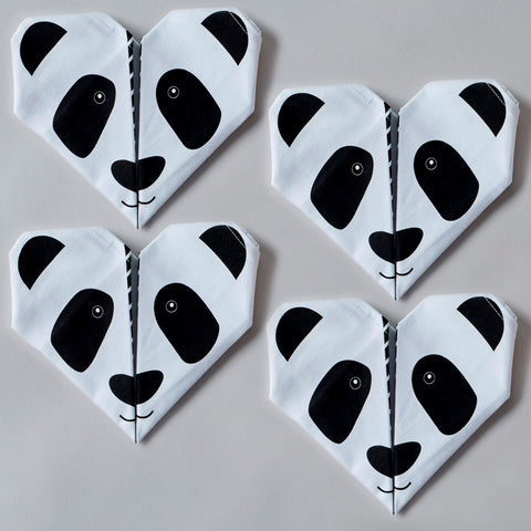 Origami Cotton Table Napkins : Pandas set of 4