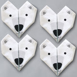 Origami Cotton Table Napkins : Bears set of 4