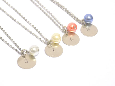 Initial necklace set of 4