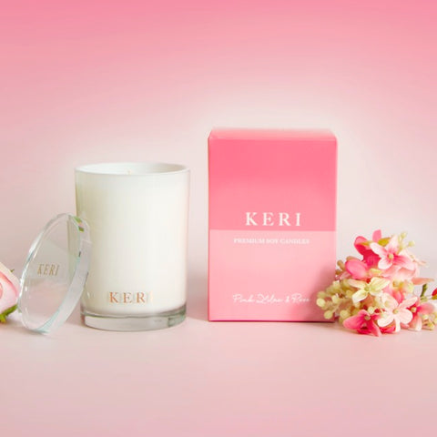 Keri Luxury Soy Candle Boutique 280g Jar Pink Lilac & Rose