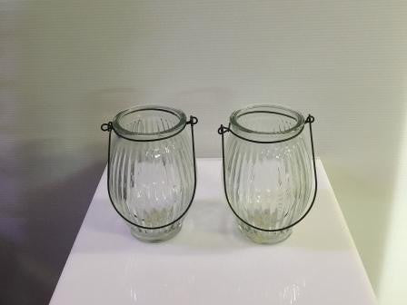 Etched glass jar with wire handle