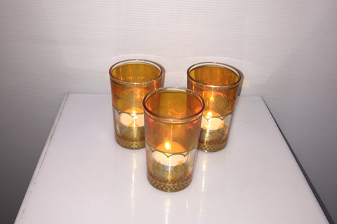 Moroccan Tealight Candle Holder - Orange & Gold