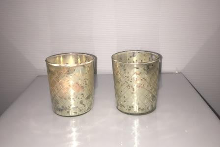 Silver Foil Diamond Cut Tealight Candle Holder