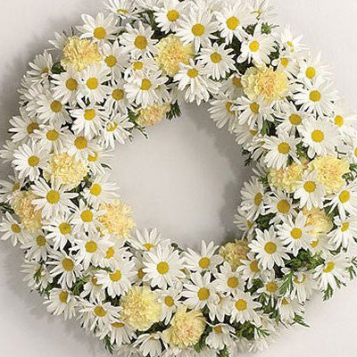 Funeral Wreath - White Daisy
