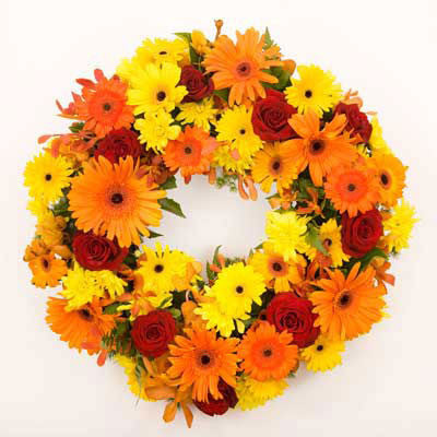 Funeral Wreath - Gerbera Sunset