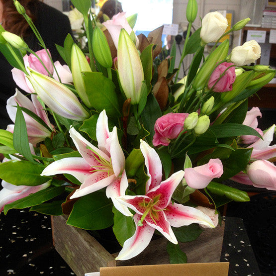 Pink Lilies in a Wooden Box