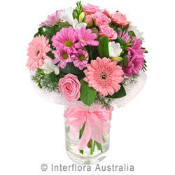 Pink Lady Posy in a Glass Vase