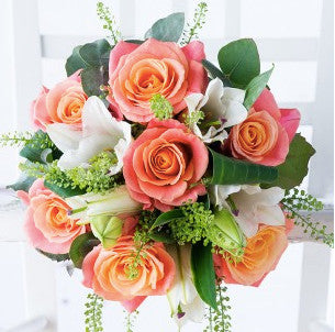 Coral Roses & Lilies Bouquet