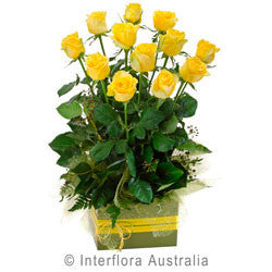 Yellow Rose Arrangement in a Box