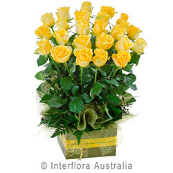 Yellow Rose Arrangement in a Large Box