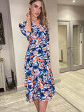 Boho Midi Dress Blue & Orange Print