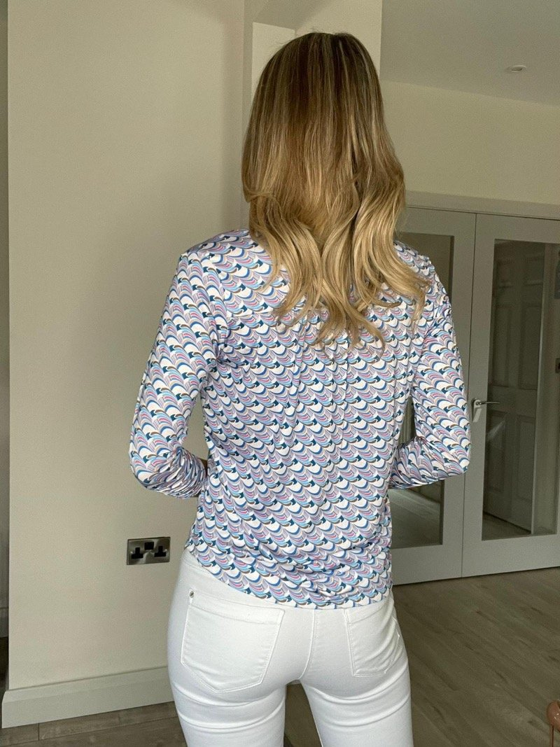 Kate & Pippa SS21 Print Zip Top Blue and Pink