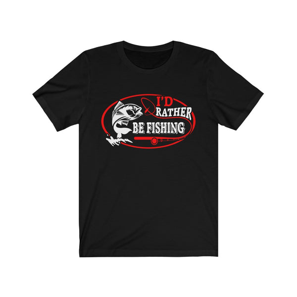 "T-shirt for GRILL and BBQ ""I'd rather go fishing"", a great gift for a fisherman. Unisex Jersey Short Sleeve Tee"