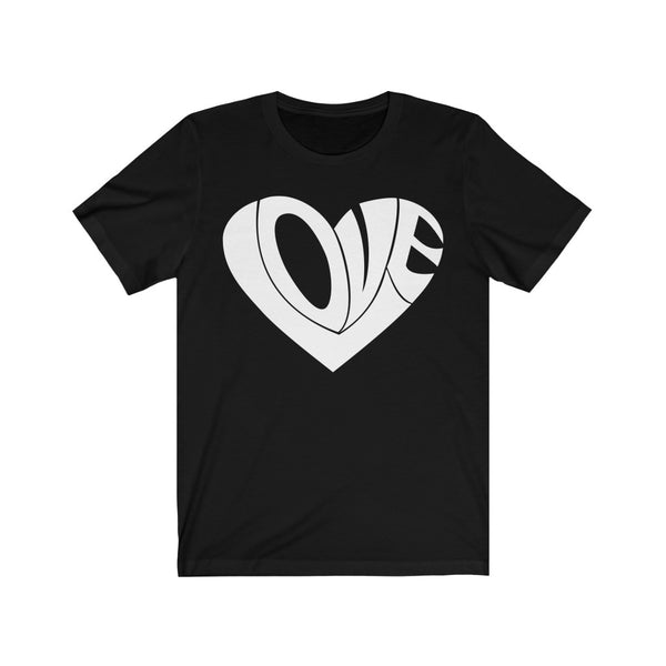 T-shirt with the inscription Love, in the form of a heart. Unisex Jersey Short Sleeve Tee