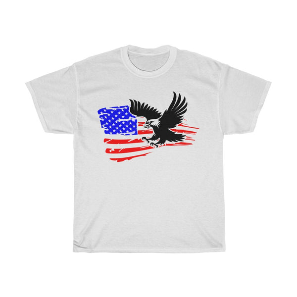 T-shirt with a Bald Eagle against the background of the US flag. Patriotic T-shirt with a flag. Unisex Heavy Cotton Tee