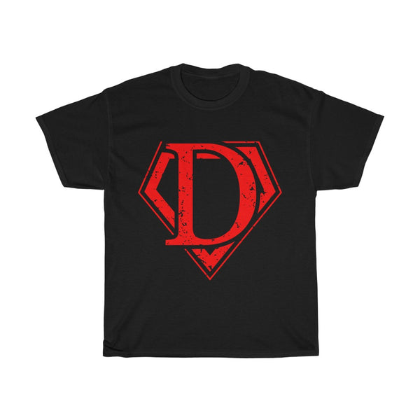 T-shirt in stile SUPERMAN,  with letter logo D. Unisex Heavy Cotton Tee