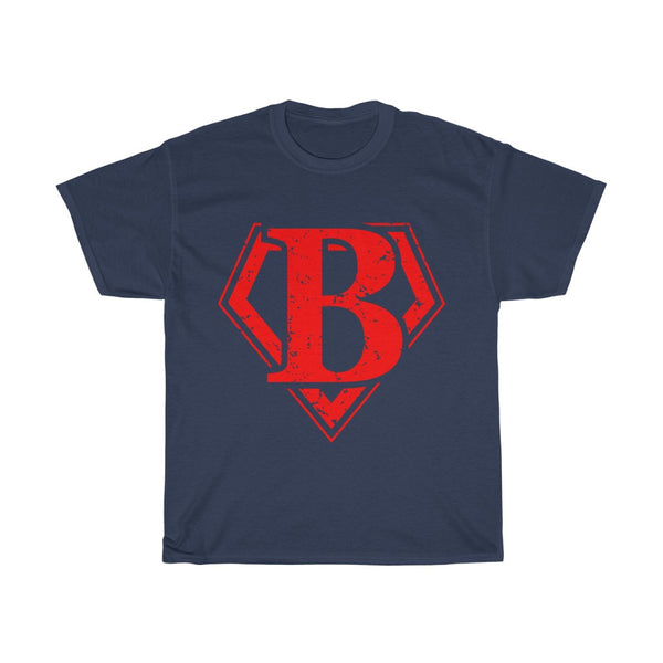 T-shirt in stile SUPERMAN,  with letter logo B. Unisex Heavy Cotton Tee