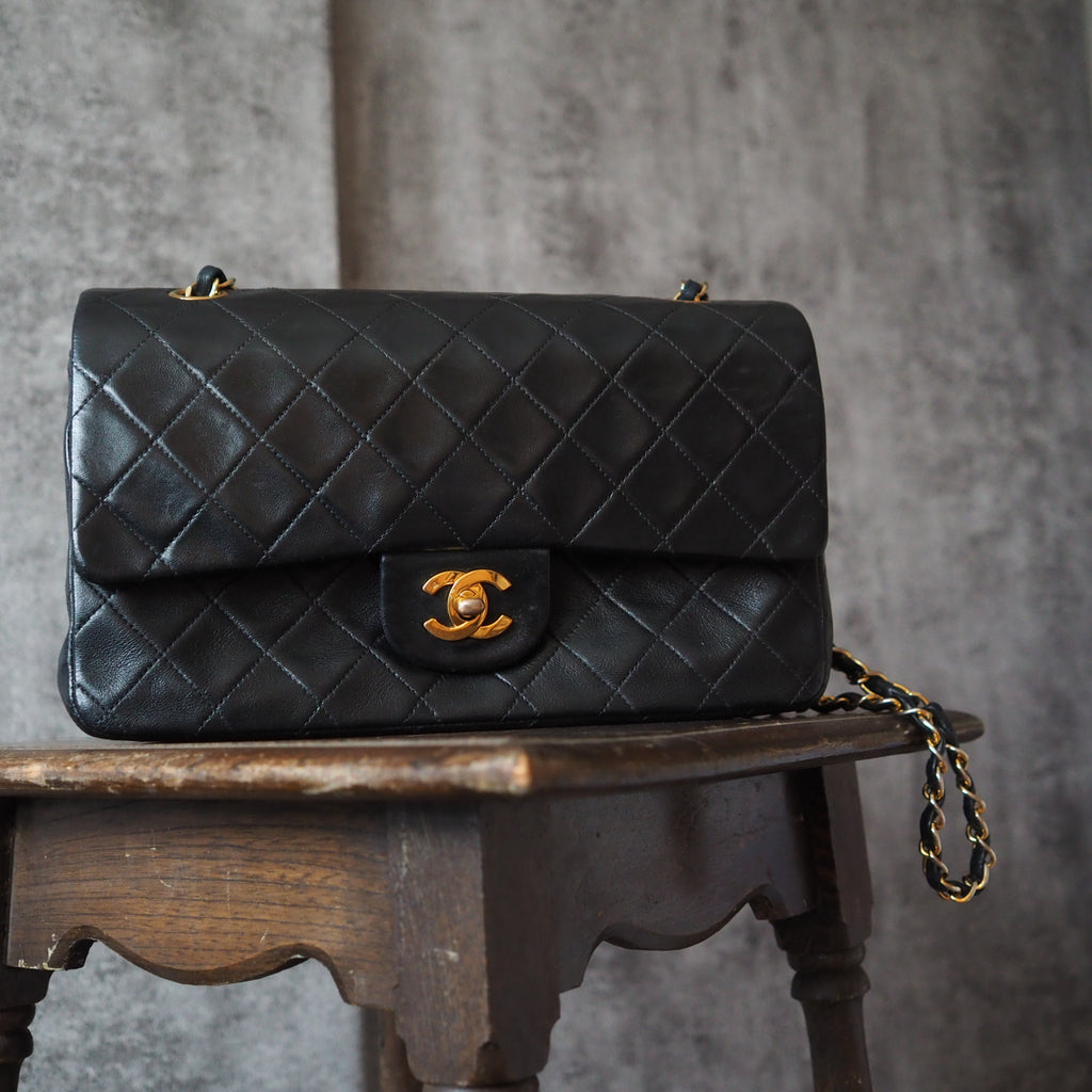 CHANEL Double Flap 25 Quilted Matelasse Shoulder Bag