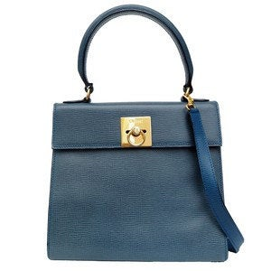 Celine Kelly 2way hand Shoulder Bag Blue Leather Authentic Vintage Classical