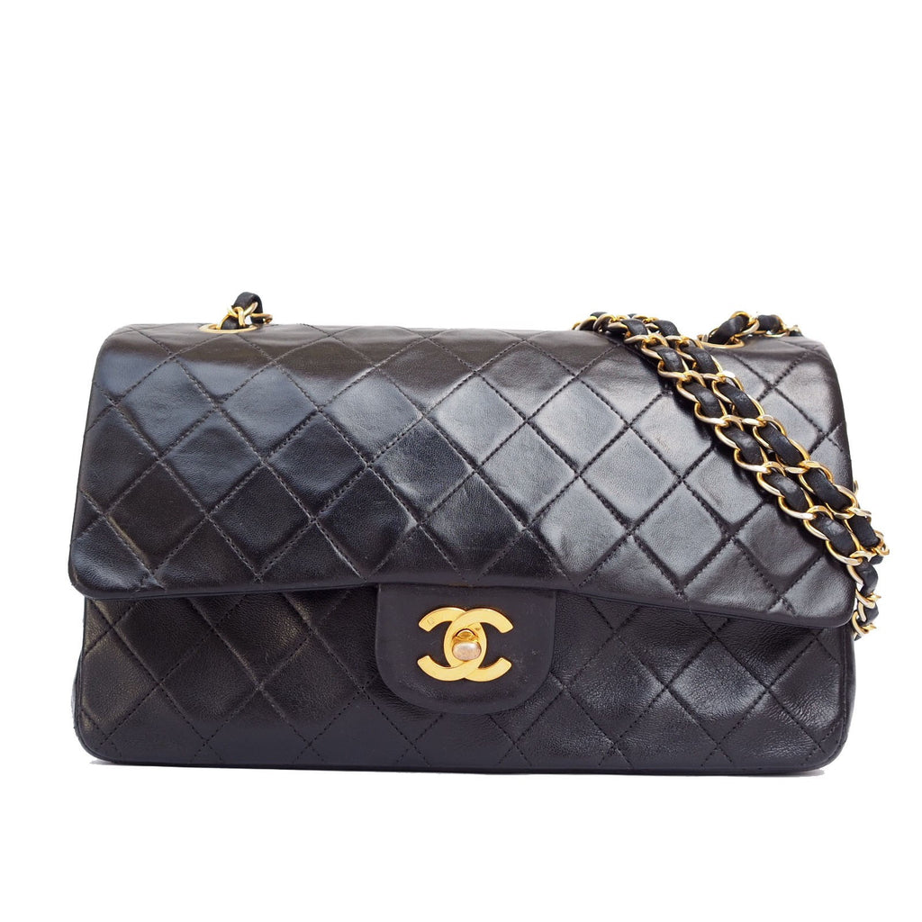 CHANEL Double Flap 25 Quilted CC Logo Lambskin w/Chain Shoulder Bag Black vintage auth
