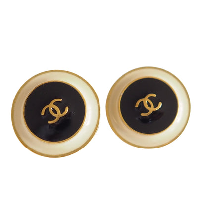CHANEL COCO Earrings Black White Gold Box