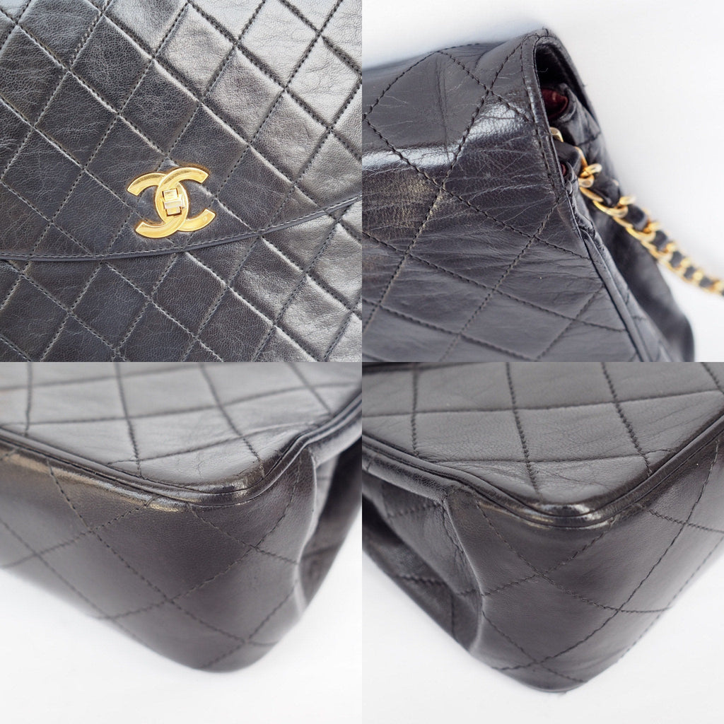 CHANEL Auth Quilted CC Single Chain Shoulder Bag Black Leather Vintage