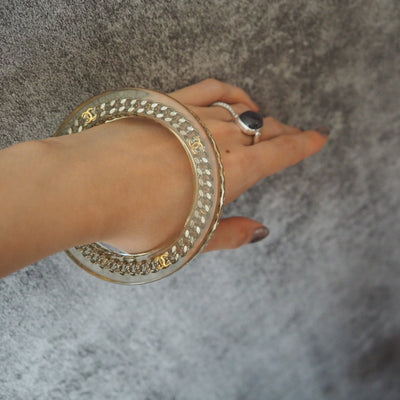 CHANEL COCO Chain Bangle Clear Silver Gold Plastic Box