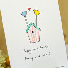 Load image into Gallery viewer, Sparkly Birdhouse Personalised Hand Illustrated Card