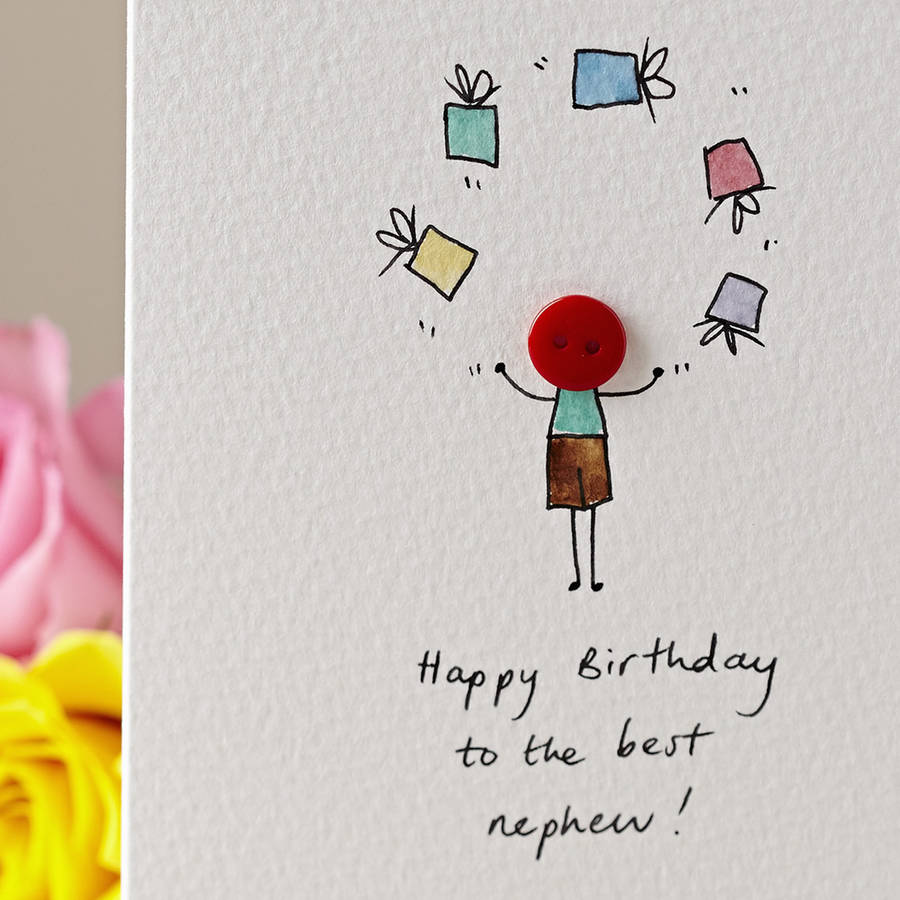 Button with Presents Personalised Hand Illustrated Card