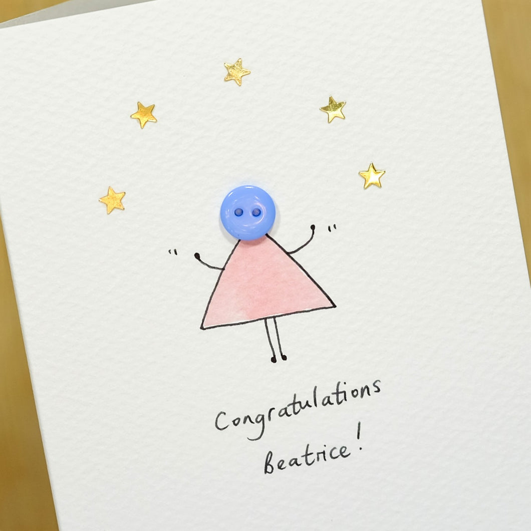 Button with Stars Personalised Hand Illustrated Card