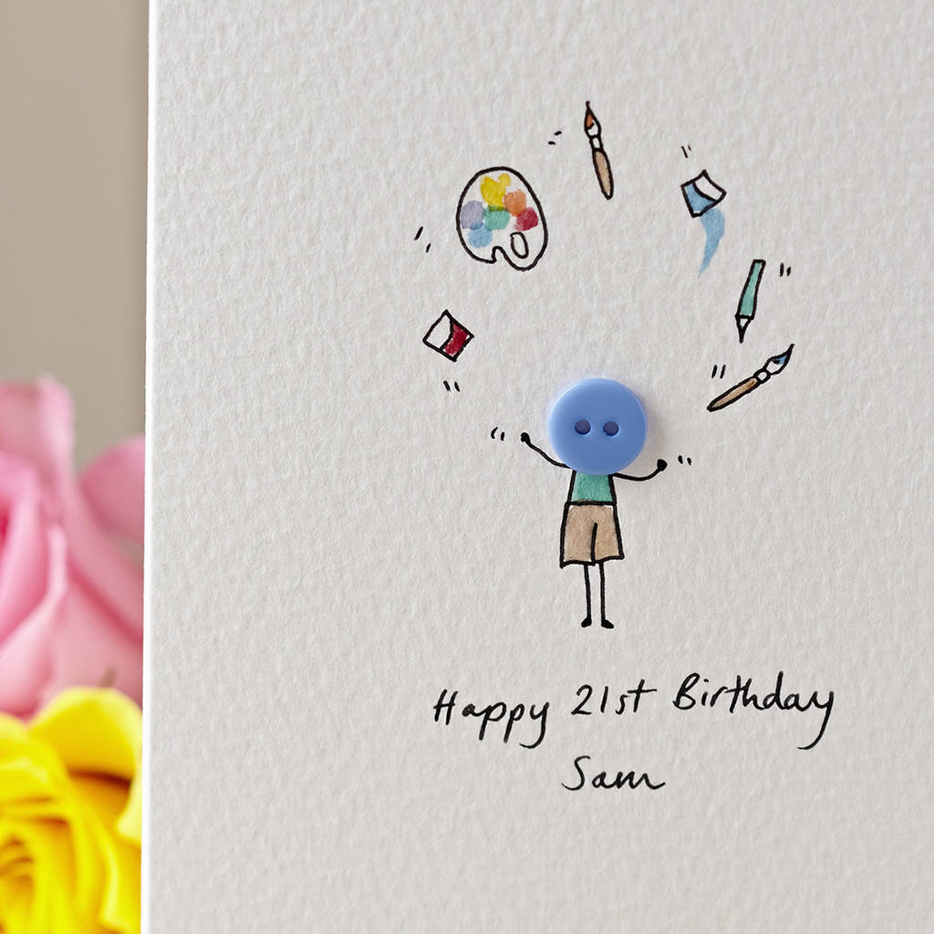 Button Artist Personalised Hand Illustrated Card