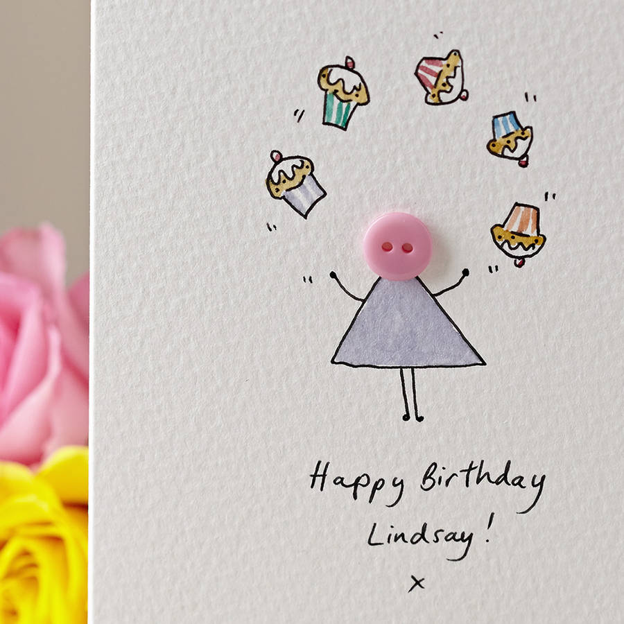 Button with Cupcakes Personalised Hand Illustrated Card