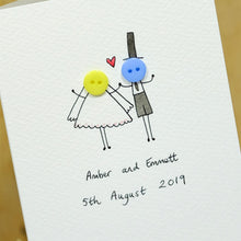 Load image into Gallery viewer, Button Wedding Personalised Hand Illustrated Card