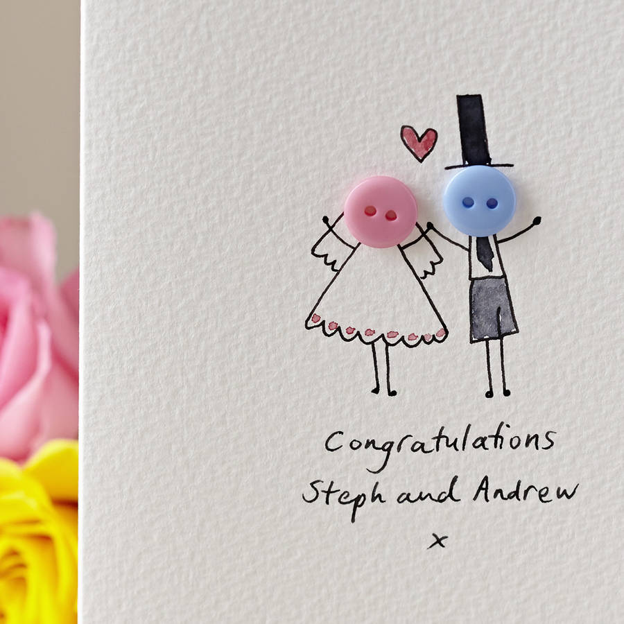 Button Wedding Personalised Hand Illustrated Card