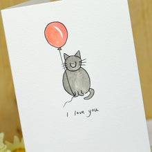 Load image into Gallery viewer, Cat with Balloon Personalised Hand Illustrated Card
