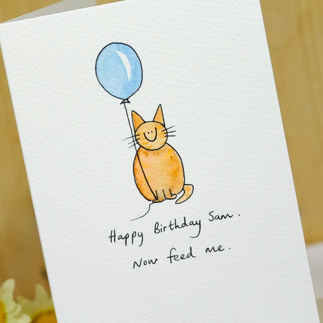 Cat with Balloon Personalised Hand Illustrated Card