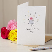 Load image into Gallery viewer, Dancing Button Personalised Hand Illustrated Card