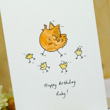 Load image into Gallery viewer, Hen & Chicks Personalised Hand Illustrated Card