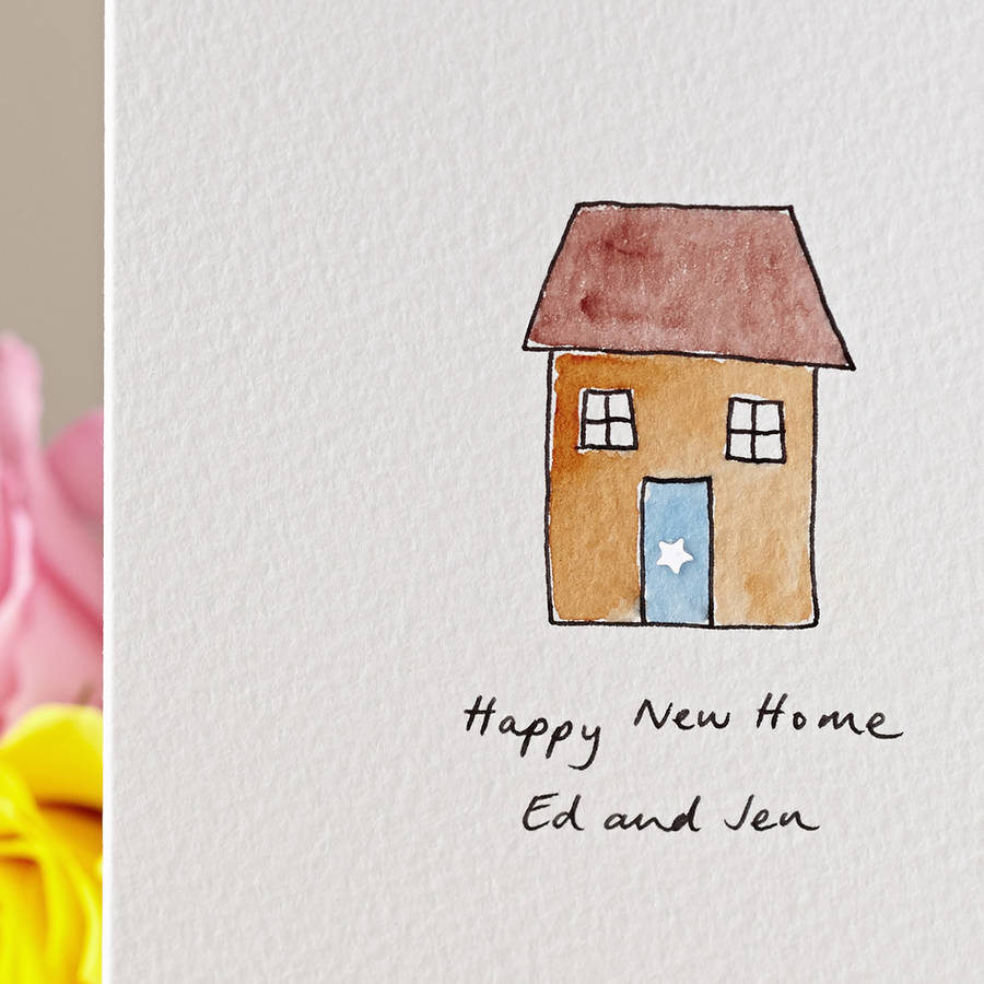 Sparkly House Personalised Hand Illustrated Card