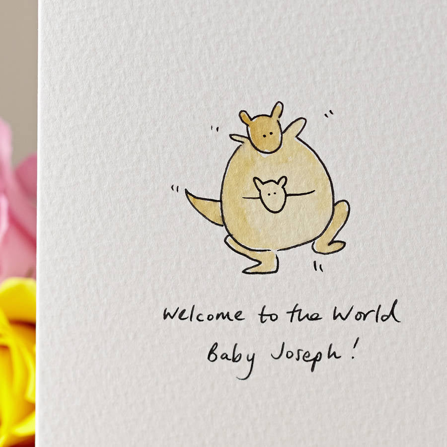 Kangaroo New Baby Personalised Hand Illustrated Card