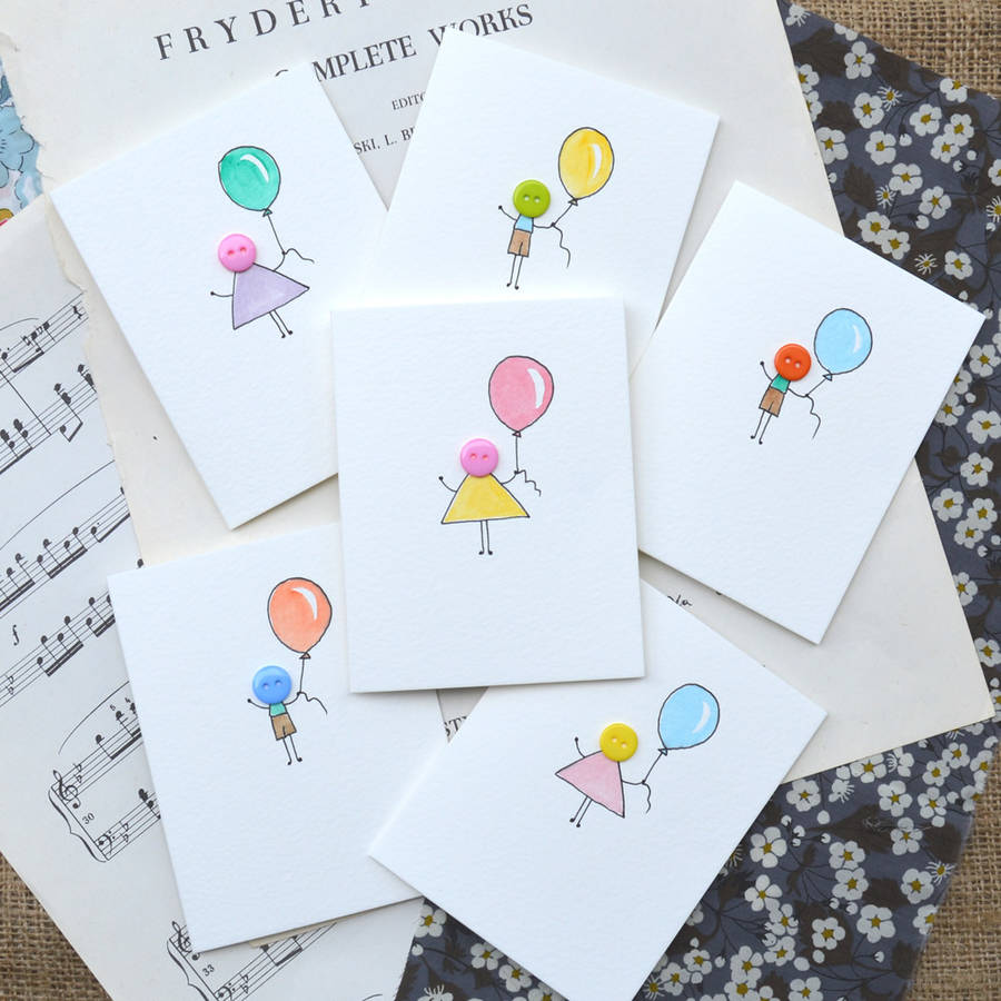 Pack of 6 Button People Hand Illustrated Cards